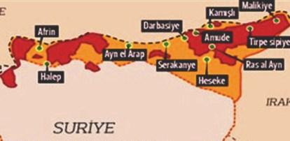 Kuzey Suriye bölgesine ait harita