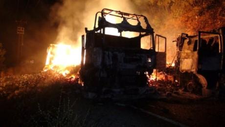 Dersim – Erzincan Yolunda İkinci Eylem: 7 Araç Ateşe Verildi, Yola Patlayıcı Yerleştirildi