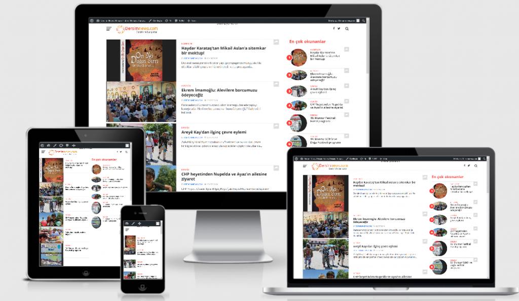 Dersimnews.com'un tüm cihazlarda genel görünümü